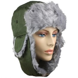 36 of Green Winter Pilot Hat With Faux Fur Lining And Strap