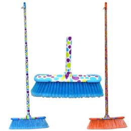 24 of Broom Printed Design Sticks Hd W/rubber Bumpers
