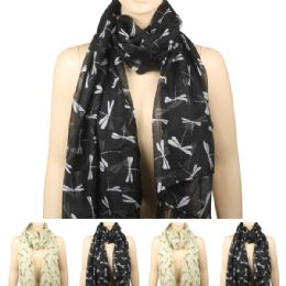 36 of Women Fashion Scarf In Black With Dragon Flies