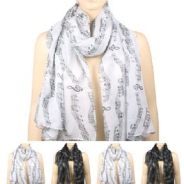 36 of Womens Fashionable Scarf In Assorted Color With Musical Notes