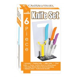 12 of 6 Piece Knife Set With Cutting Board Peeler And Stand