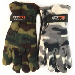 24 of Fleece Green White Camo Print Winter Gloves Assorted