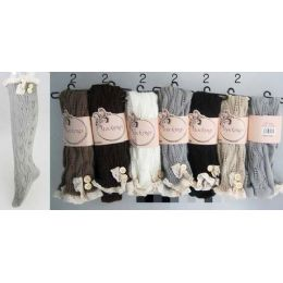 24 of Solid Color Knitted Stockings With Lace Trim Assorted