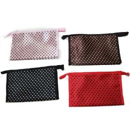 96 of Assorted Color Dotted Cosmetic Bag