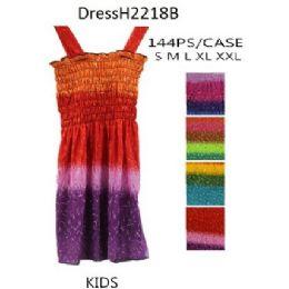 144 of Multi Color Girls Kids Dresses (tie Dye Prints)