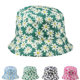 24 of Womens Flower Printed Bucket Hat Assorted
