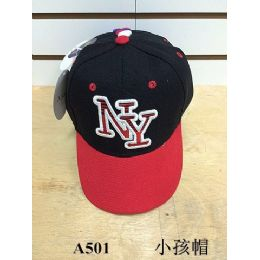 144 of Ny Baseball Cap/ Hat Assorted Colors (kids Size)