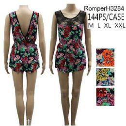 144 of Floral Pattern Lace Front Short Romper Sets
