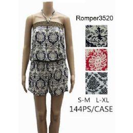 144 of Tube Style Short Romper Royal Floral Design