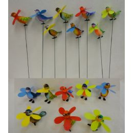 48 of Yard Stake [colorful Birds With Pinwheels]