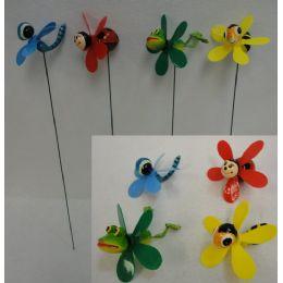 48 of Yard Stake With Pinwheel [frog/bee/bug Assortment]