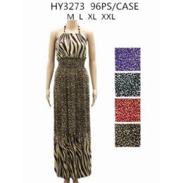 48 of Womans Long Animal Printed Summer Dress