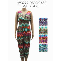 48 of Womans Romper Printed Assorted Color