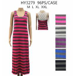 48 of Womans Long Stripe Summer Dress