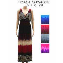 48 of Womans Long Summer Dress Assorted Colors