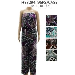 48 of Womans Fashion Jumpsuit Assorted Print