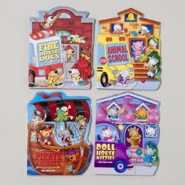 48 of Board Books Fan Tab U Lus 4 Asstd Kitties,dogs,pirate Animal School Bus In Pdq