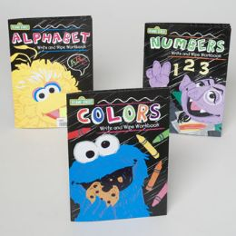 48 of Sesame Street Wipe Off Workbooks 3 Asstd In Floor Display