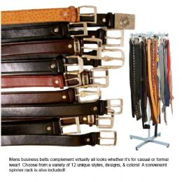 96 of Mens Leather Buisness Belts With Rack 12 Assorted Designs
