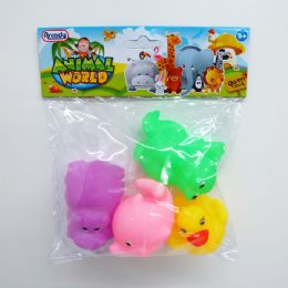 """96 of 3"""" 4pc Squeezing Animal Set In Poly Bag W/header"""