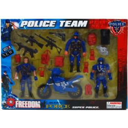 24 of 18pc Police Team Action Fig Play Set In Window Box