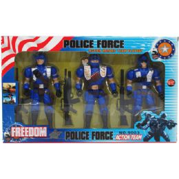 """24 of 3pc 7"""" Police Action Figs. Set W/accss In Window Box"""