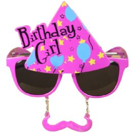 72 of Birthday Girl Party Glasses With Mustache