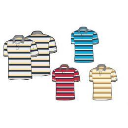24 of Mens 100% Cotton Striped Polo Shirt