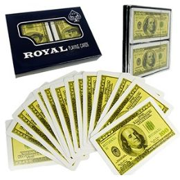 48 of 2-Pack $100 Bill Plastic Coated Playing Cards.