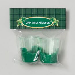 36 of Shot Glass 2pk Clear Plastic W/ Green Shamrock Base St Pat