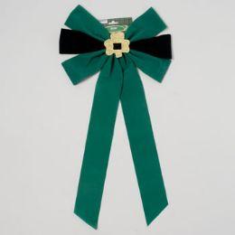 48 of Bow Velvet W/glitter Shamrock Green & Black 12.5 X 25in L St Patrick Printed Header Card