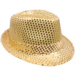 72 of Kid's Gold Sequin Fedora Hat