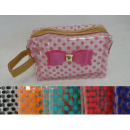 24 of Clear Plastic MakE-Up Bag [polka Dots & Bow]