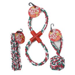 48 of Dog Toy Christmas Rope Chews 3 Assorted In Pdq