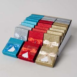 48 of Gift Card Holder Glitter 4ast Colors W/satin Ribbon/24pc Pdq Party Easy Peel Label/bellyband