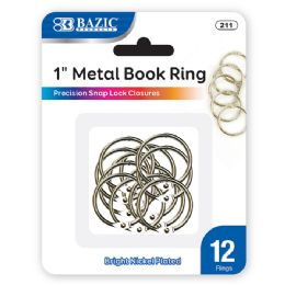 "24 of Bazic 1"" Metal Book Rings (12/pack)"