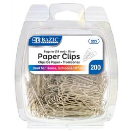 24 of Bazic No.1 Regular (33mm) Silver Paper Clips (200/pack)