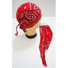 96 of Wholesale Skull Caps Motorcycle Hats Fabric Red Paisley Print
