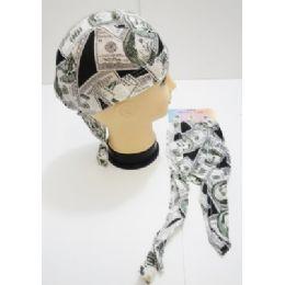 96 of Wholesale Skull Caps Motorcycle Hats Fabric 100 Dollar Bill Print