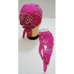 96 of Wholesale Skull Caps Motorcycle Hats Fabric Pink Paisley Print