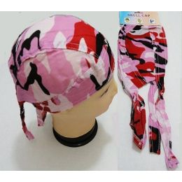 96 of Wholesale Skull Caps Motorcycle Hats Fabric Pink Camo Print