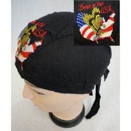 96 of Wholesale Skull Caps Motorcycle Hats Born In The Usa Embroidery