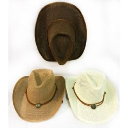 36 of Wholesale Solid Color Mesh Cowboy Hat Medallion Assorted Colors