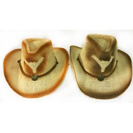 36 of Wholesale Mesh Cowboy Hat With Bull Horn And Medallion Assorted