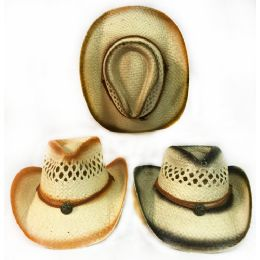 36 of Wholesale Straw Cowboy Hat Medallion Assorted Shading Colors