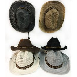 48 of Wholesale Mesh Cowboy Hat With Braided Hat Band Assorted Colors
