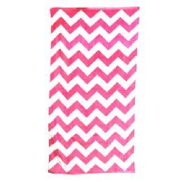 24 of Chevron Beach Towel, Pink