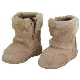 24 of Wholesale Kids's Winter Boots With Faux Fur Lining And Side ZippeR- Beige