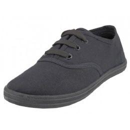 24 of Youth's Lace Up Casual Canvas Shoes ( *all Black Color )