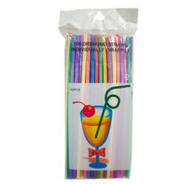 80 of 100 Piece Assorted Color Flexible Straws